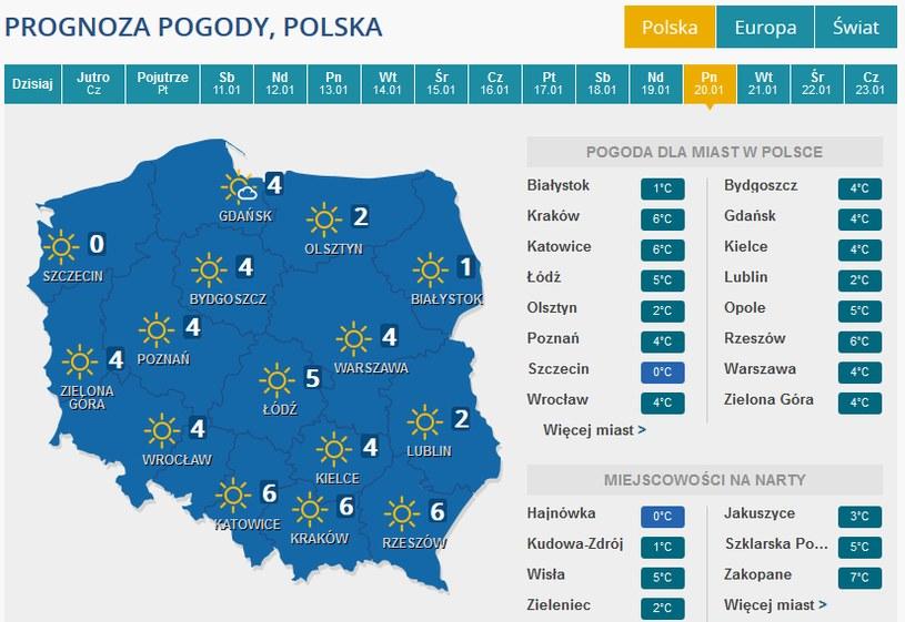 Prognoza pogody na poniedziałek 20 stycznia /INTERIA.PL
