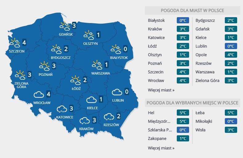 Prognoza pogody na poniedziałek, 26 listopada /INTERIA.PL