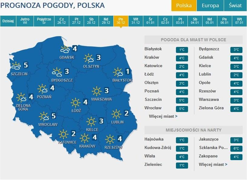 Prognoza pogody na poniedziałek, 30 grudnia /INTERIA.PL