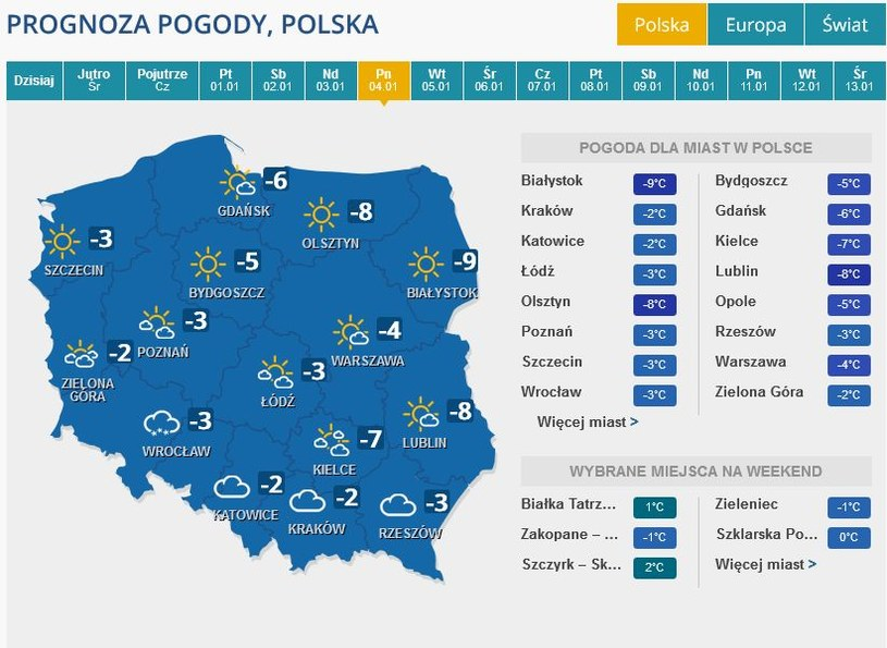 Prognoza pogody na poniedziałek, 4 stycznia /INTERIA.PL