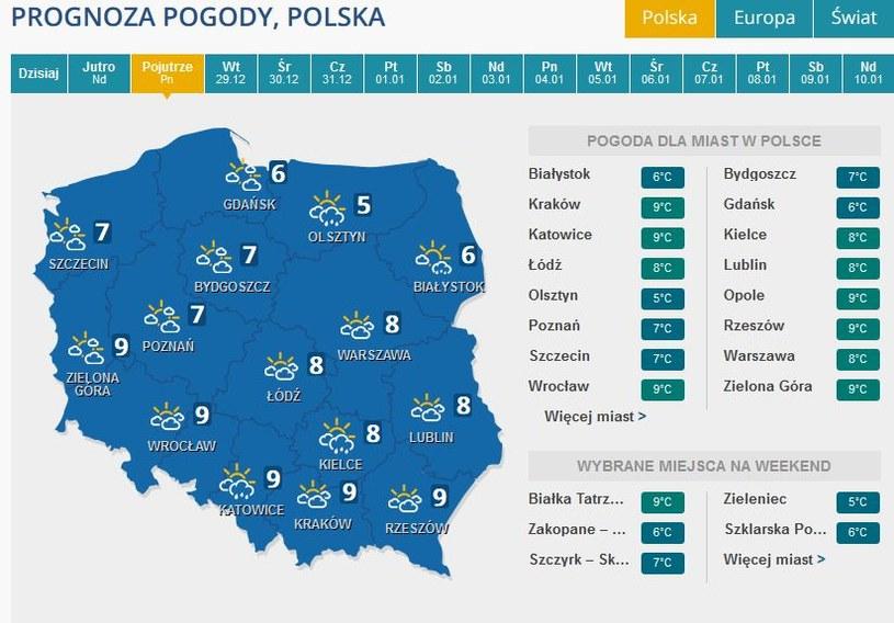 Prognoza pogody na poniedziałek /INTERIA.PL