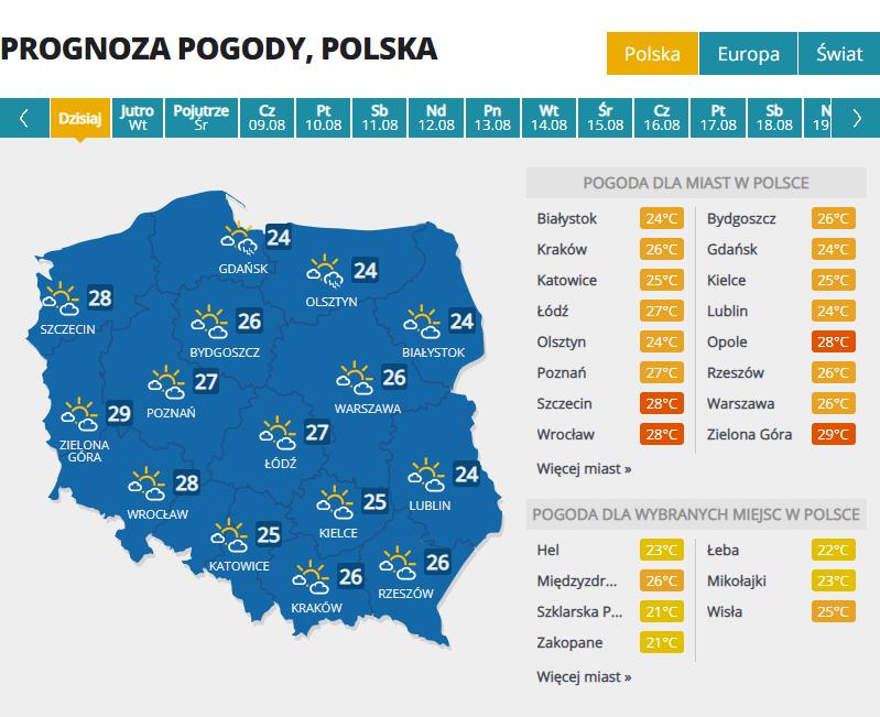 Prognoza pogody na poniedziałek /Interia.pl /