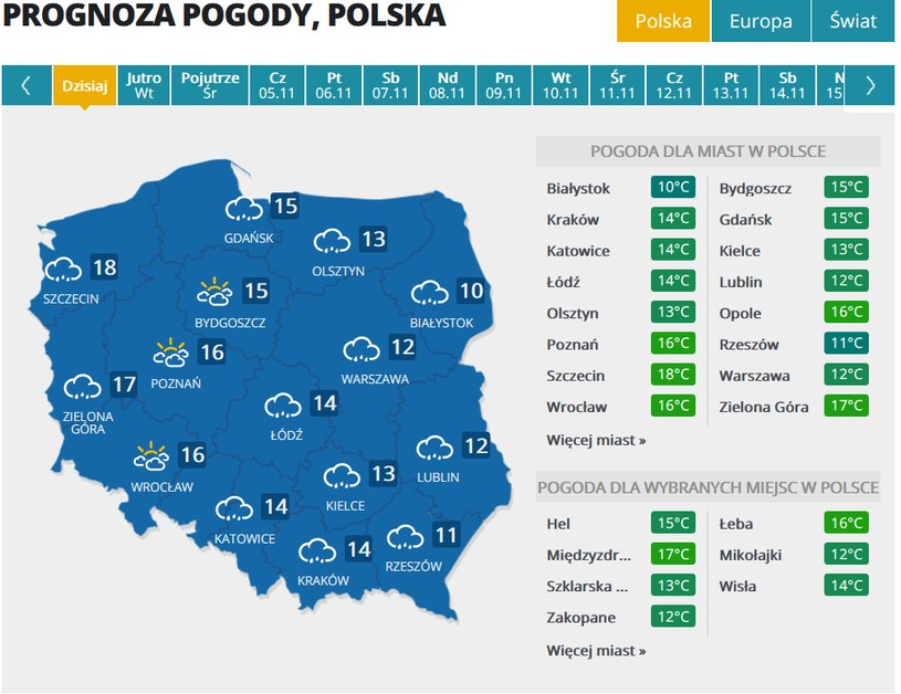 Prognoza pogody na poniedziałek /INTERIA.TV