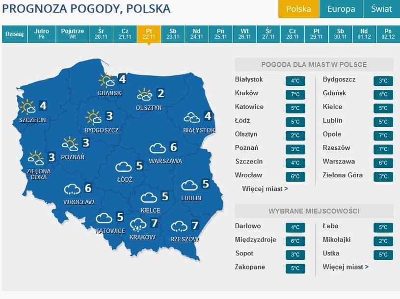 Prognoza pogody na przyszły piątek /INTERIA.PL