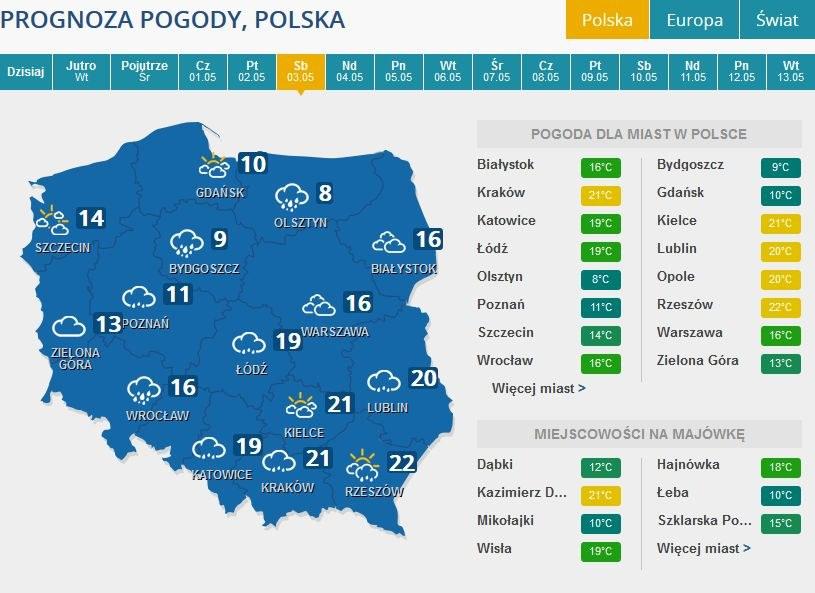 Prognoza pogody na sobbotę, 3 maja /INTERIA.PL