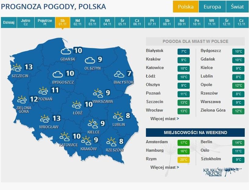 Prognoza pogody na sobotę, 1 listopada /INTERIA.PL