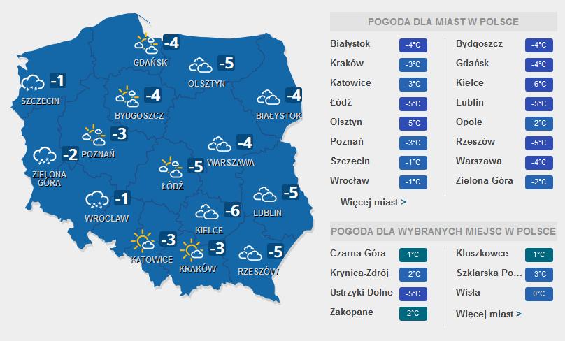 Prognoza pogody na sobotę, 11 lutego /INTERIA.PL