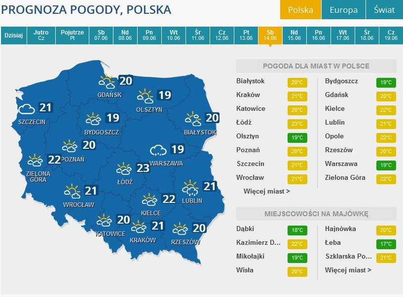 Prognoza pogody na sobotę, 14 czerwca /INTERIA.PL