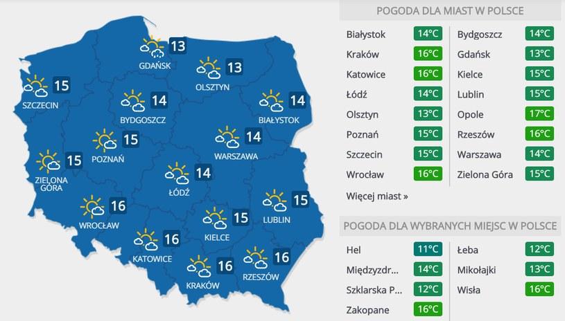 Prognoza pogody na sobotę, 16 maja /INTERIA.PL