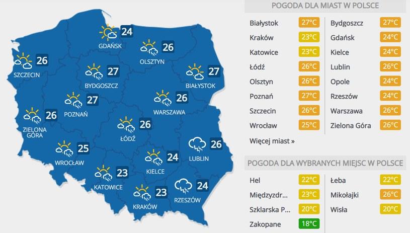 Prognoza pogody na sobotę, 18 lipca /INTERIA.PL