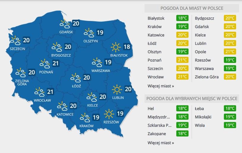 Prognoza pogody na sobotę, 19 września /INTERIA.PL