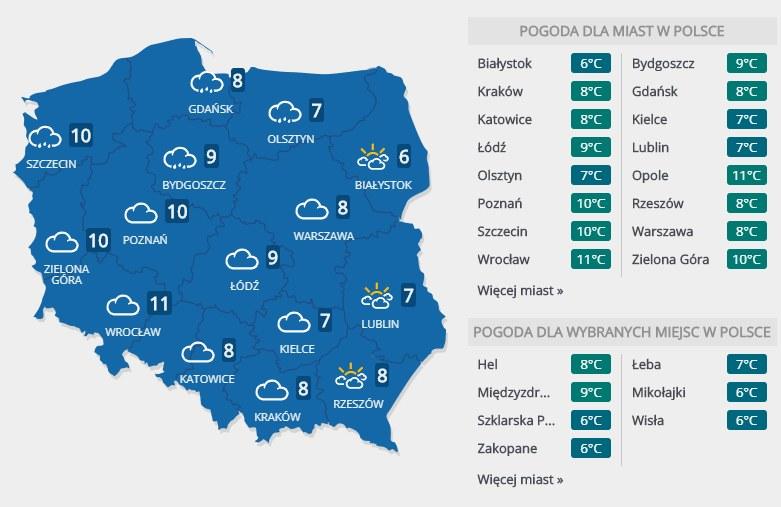 Prognoza pogody na sobotę, 22 lutego /INTERIA.PL