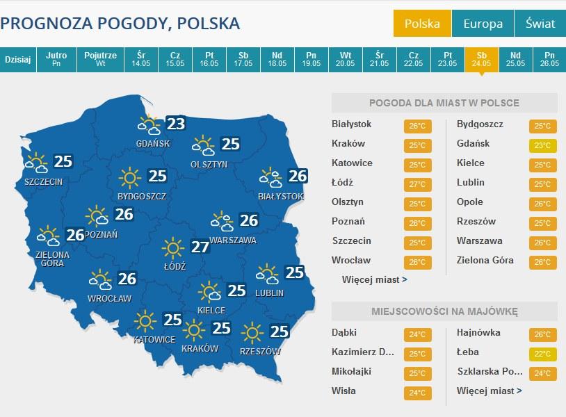 Prognoza pogody na sobotę 24 maja /INTERIA.PL