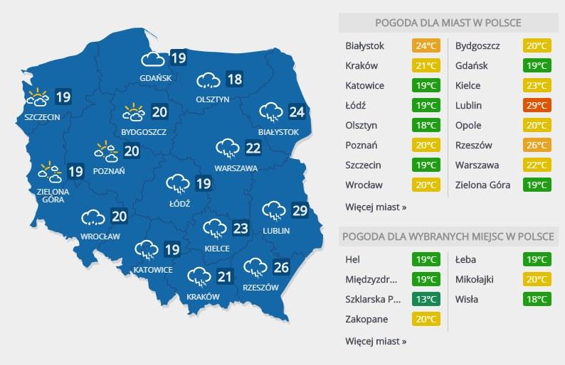 Prognoza pogody na sobotę, 25 sierpnia /INTERIA.PL