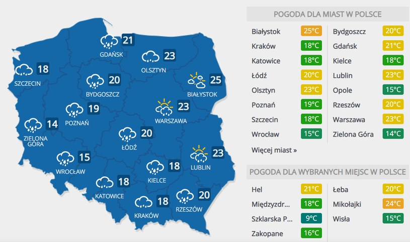 Prognoza pogody na sobotę, 26 września /INTERIA.PL