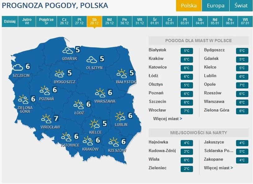 Prognoza pogody na sobotę, 28 grudnia /INTERIA.PL