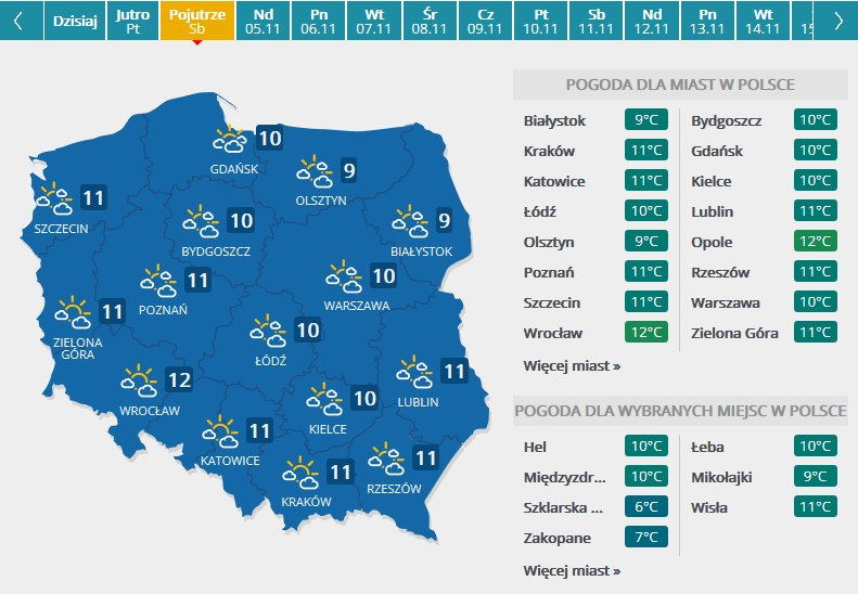 Prognoza pogody na sobotę 4.11 /INTERIA.PL