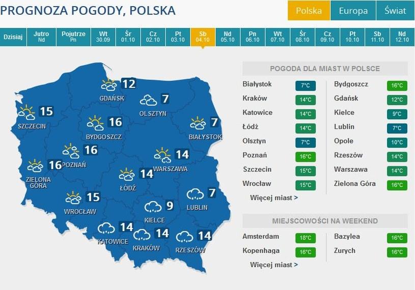 Prognoza pogody na sobotę, 4 października /INTERIA.PL