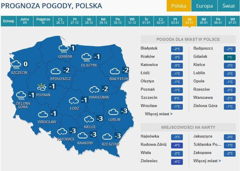 Prognoza pogody na sobotę, 4 stycznia /INTERIA.PL