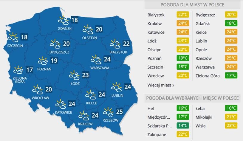 Prognoza pogody na sobotę, 6 czerwca /INTERIA.PL