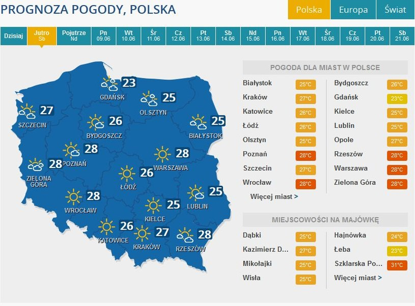 Prognoza pogody na sobotę, 7 czerwca /INTERIA.PL