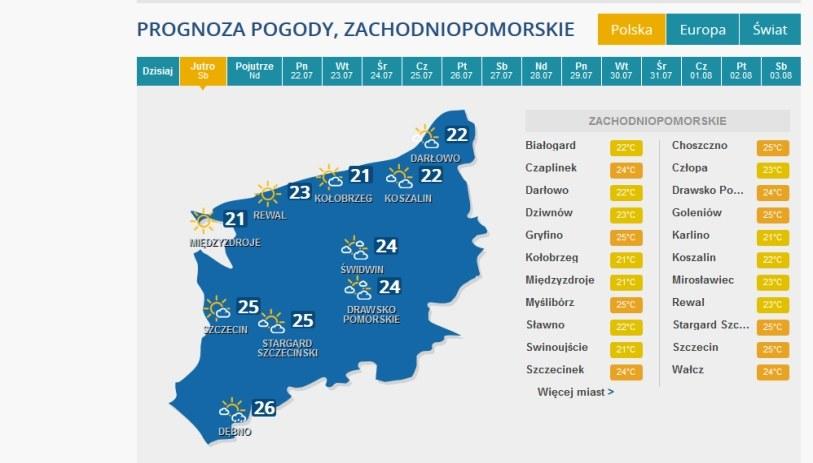 Prognoza pogody na sobotę dla woj. zachodniopomorskiego /INTERIA.PL
