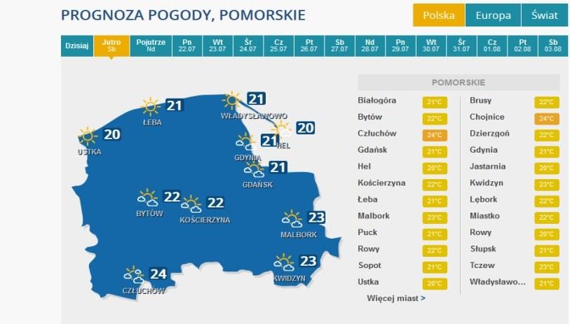 Prognoza pogody na sobotę dla województwa pomorskiego /INTERIA.PL