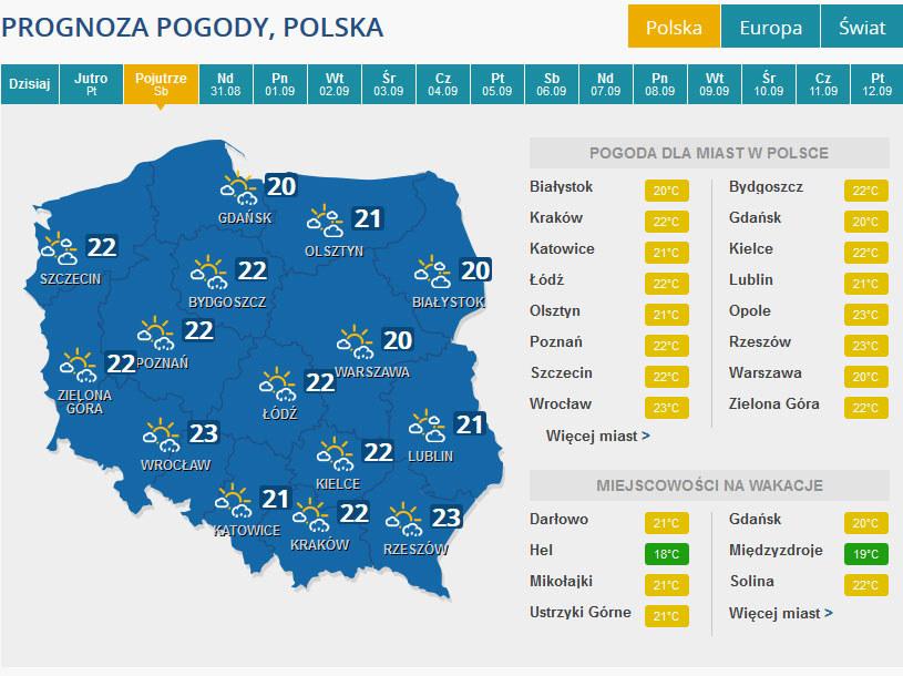 Prognoza pogody na sobotę. /INTERIA.PL