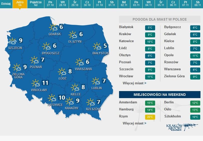 Prognoza pogody na sobotę /pogoda.interia.pl /INTERIA.PL