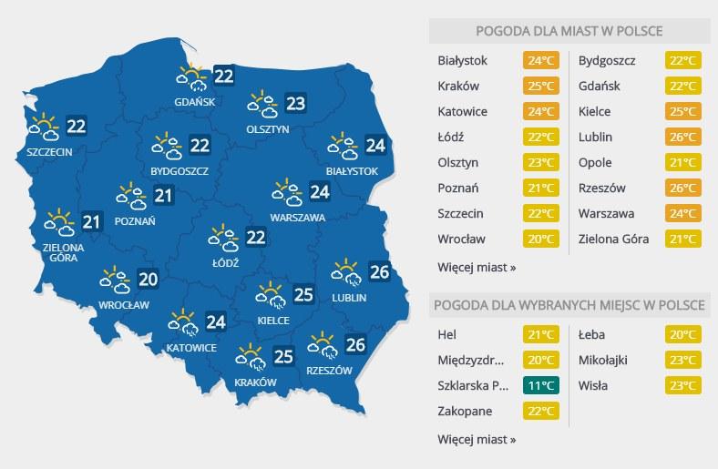 Prognoza pogody na sobotę /INTERIA.PL