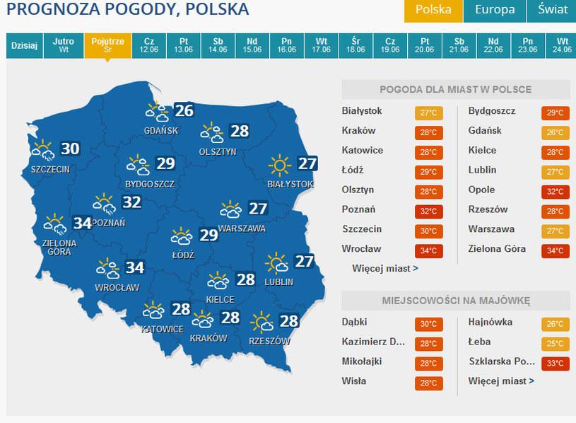 Prognoza pogody na środę - 11 czerwca. /INTERIA.PL