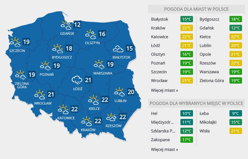 Prognoza pogody na środę, 11 kwietnia /INTERIA.PL
