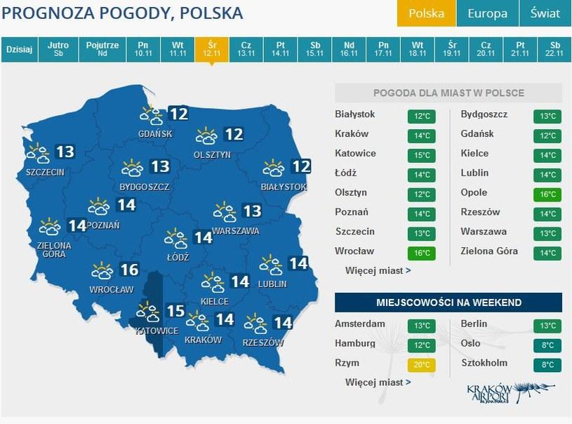 Prognoza pogody na środę, 12 listopada /INTERIA.PL