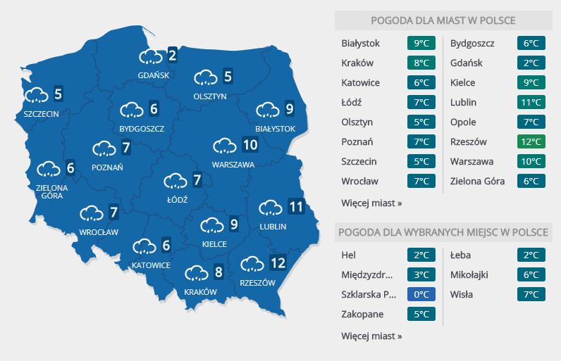 Prognoza pogody na środę, 14 marca /INTERIA.PL