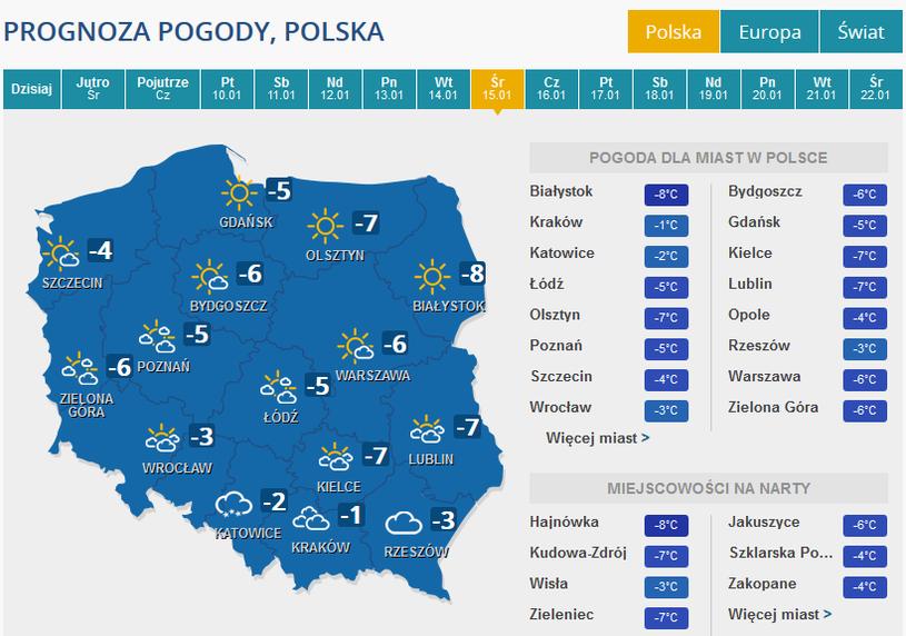 Prognoza pogody na środę 15 stycznia /INTERIA.PL