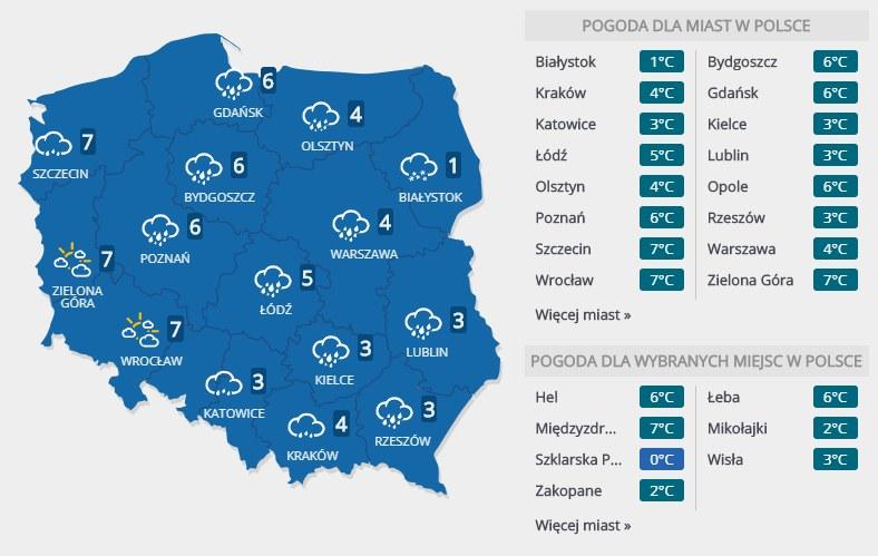 Prognoza pogody na środę, 16 stycznia /INTERIA.PL