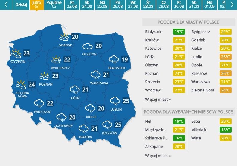 Prognoza pogody na środę, 21 sierpnia /INTERIA.PL