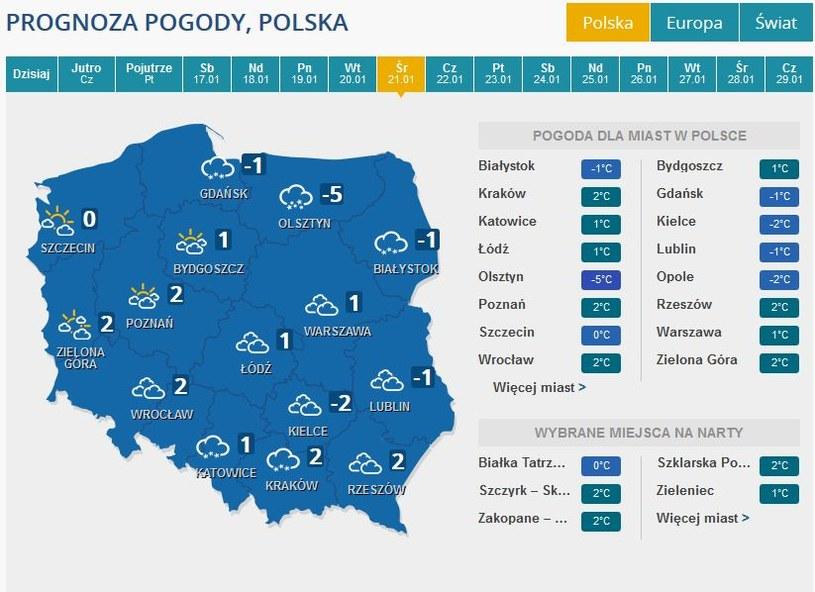 Prognoza pogody na środę, 21 stycznia /INTERIA.PL