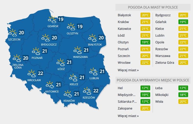 Prognoza pogody na środę, 22 lipca /INTERIA.PL
