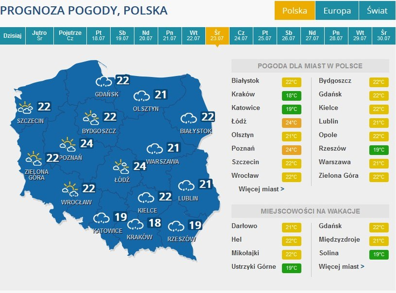 Prognoza pogody na środę (23 lipca) /INTERIA.PL