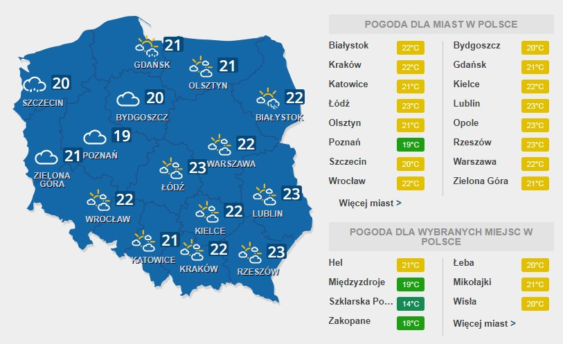 Prognoza pogody na środę, 26 lipca /INTERIA.PL