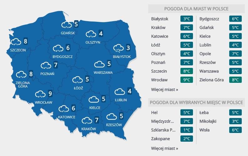 Prognoza pogody na środę, 31 stycznia /INTERIA.PL