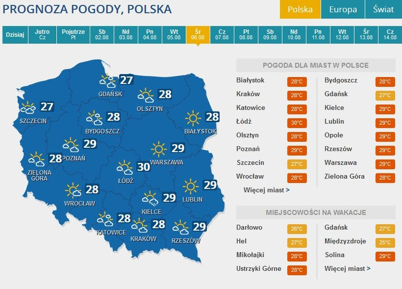 Prognoza pogody na środę, 5 sierpnia /INTERIA.PL