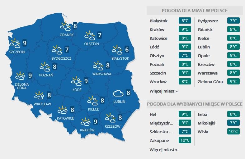Prognoza pogody na środę, 8 listopada /Interia.pl /