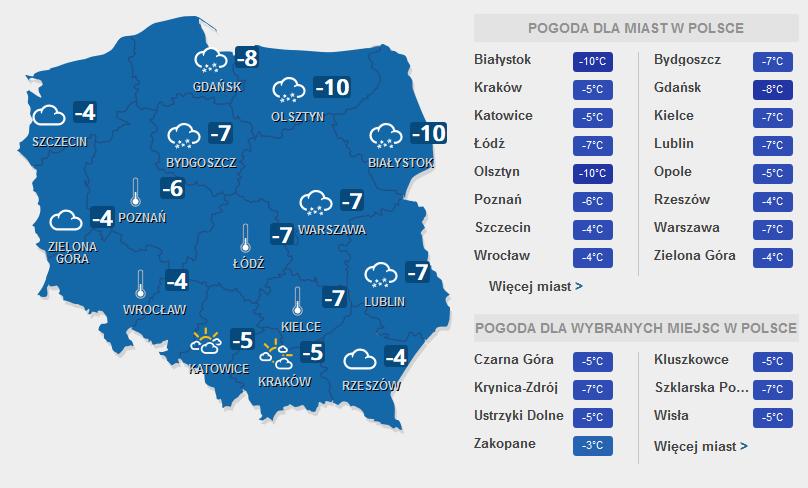 Prognoza pogody na środę, 8 lutego /INTERIA.PL