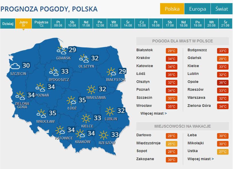 Prognoza pogody na środę. /INTERIA.PL