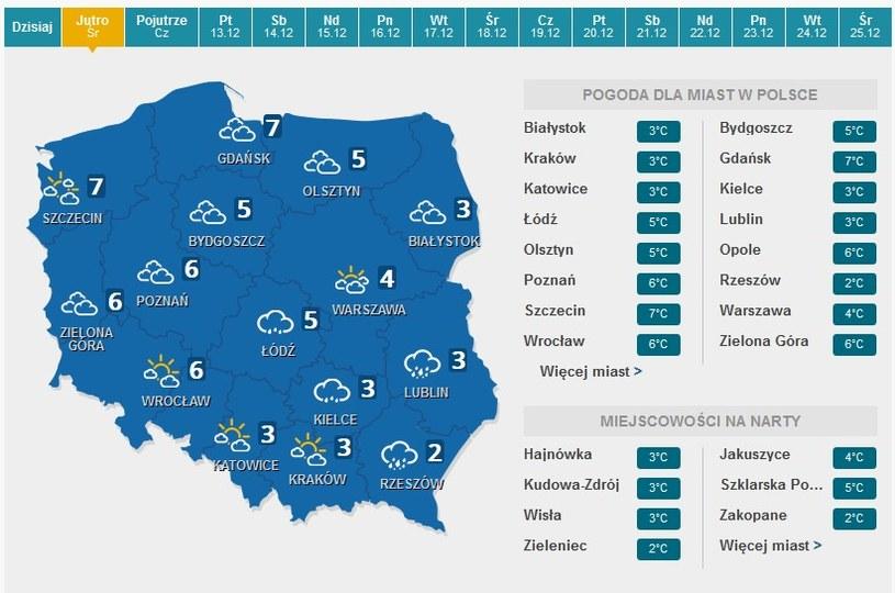 Prognoza pogody na środę /pogoda.interia.pl /INTERIA.PL