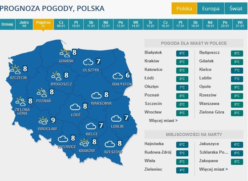 Prognoza pogody na środę /INTERIA.PL