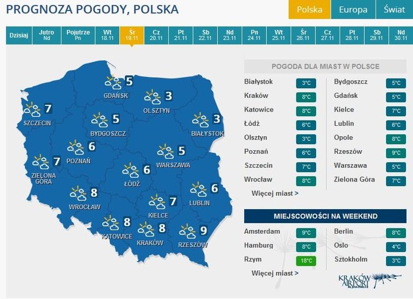 Prognoza pogody na środe /INTERIA.PL