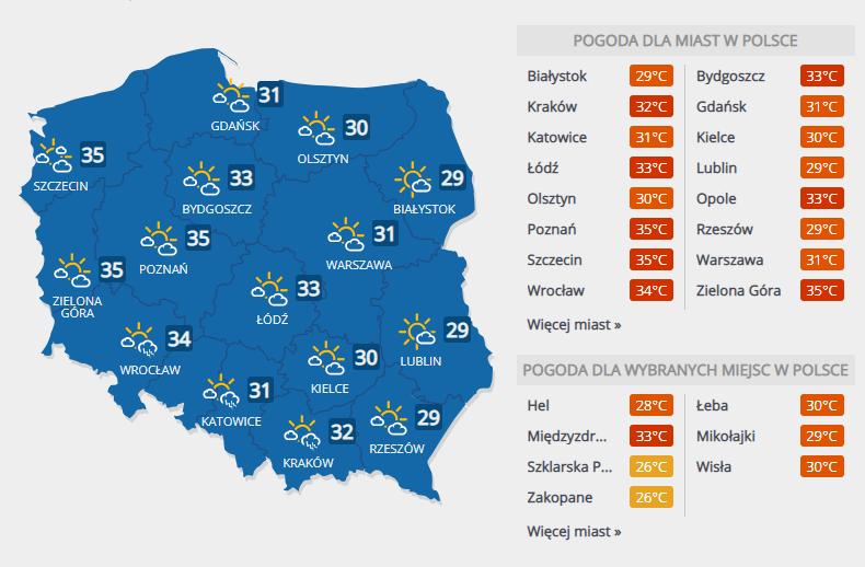Prognoza pogody na środę /Interia.pl /